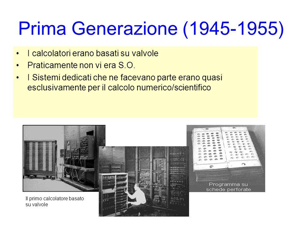 Prima Generazione (1945-1955) I calcolatori erano basati su valvole Praticamente non vi era S.O. I Sistemi dedicati che ne facevano parte erano quasi