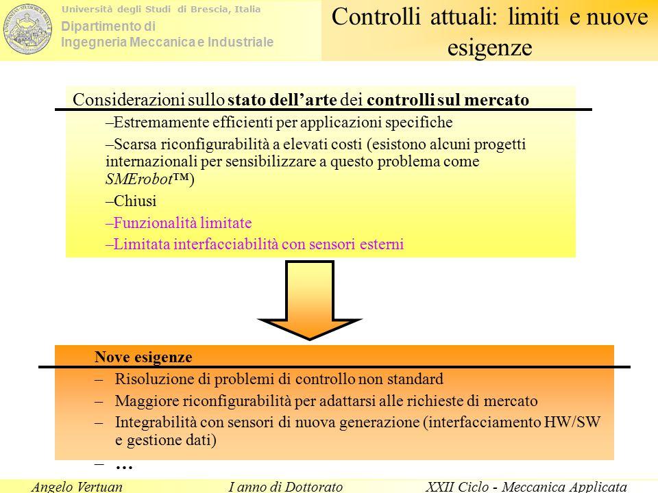 Dipartimento di Ingegneria Meccanica e Industriale Università degli Studi di Brescia, Italia Angelo VertuanI anno di DottoratoXXII Ciclo - Meccanica Applicata Controlli complessi in interazione Lavorazioni superficiali