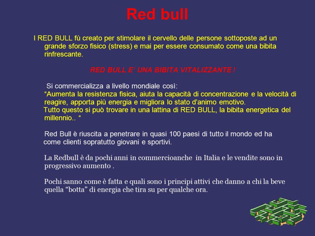 Red bull I RED BULL fù creato per stimolare il cervello delle persone sottoposte ad un grande sforzo fisico (stress) e mai per essere consumato come u