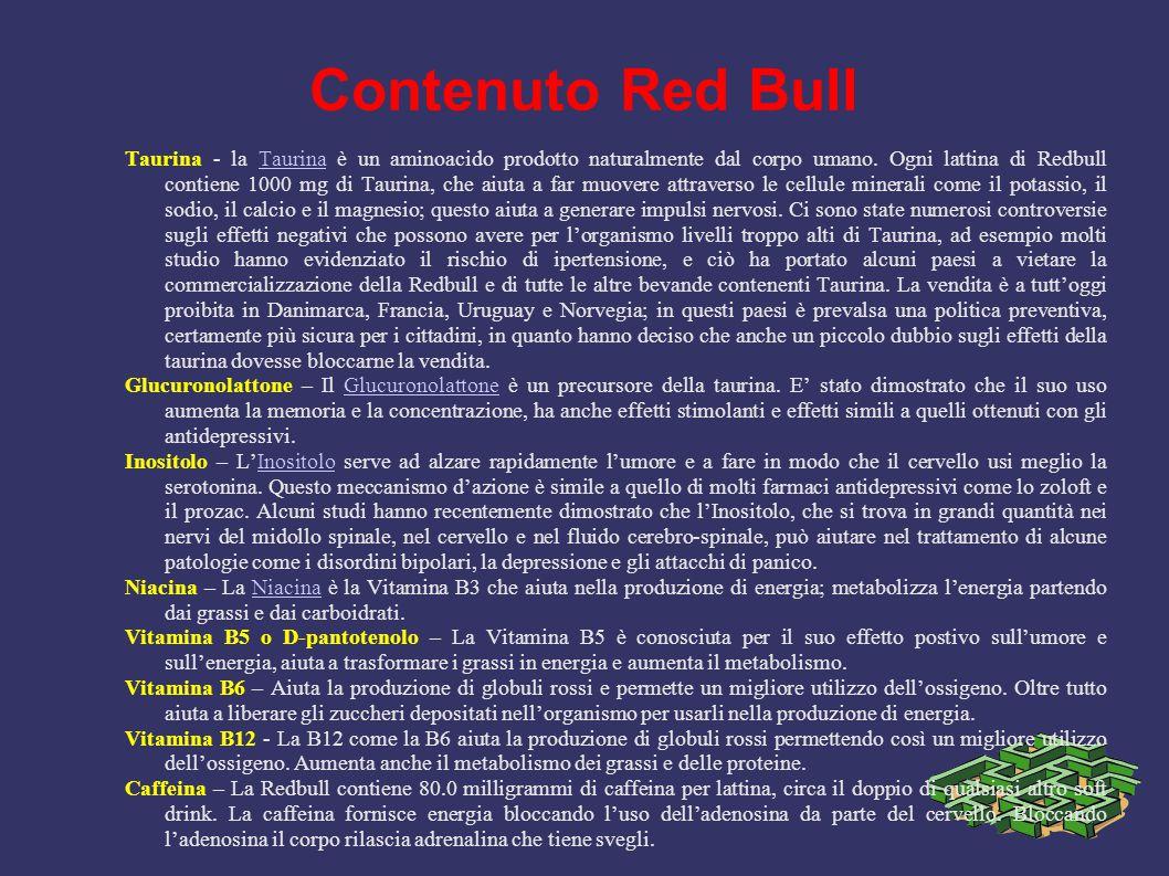 Contenuto Red Bull Taurina - la Taurina è un aminoacido prodotto naturalmente dal corpo umano. Ogni lattina di Redbull contiene 1000 mg di Taurina, ch