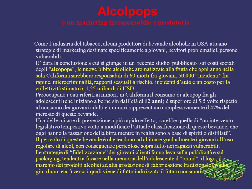 Alcolpops è un marketing irresponsabile e predatorio Come l'industria del tabacco, alcuni produttori di bevande alcoliche in USA attuano strategie di