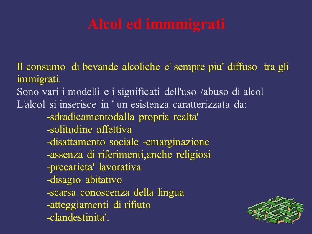 Alcol ed immmigrati Il consumo di bevande alcoliche e' sempre piu' diffuso tra gli immigrati. Sono vari i modelli e i significati dell'uso /abuso di a
