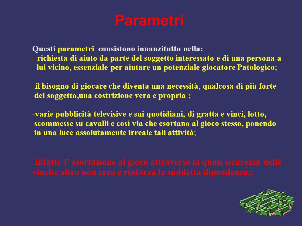Parametri Questi parametri consistono innanzitutto nella: - richiesta di aiuto da parte del soggetto interessato e di una persona a lui vicino, essenz