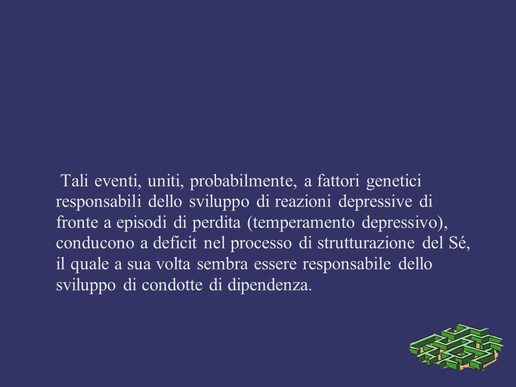 Tali eventi, uniti, probabilmente, a fattori genetici responsabili dello sviluppo di reazioni depressive di fronte a episodi di perdita (temperamento
