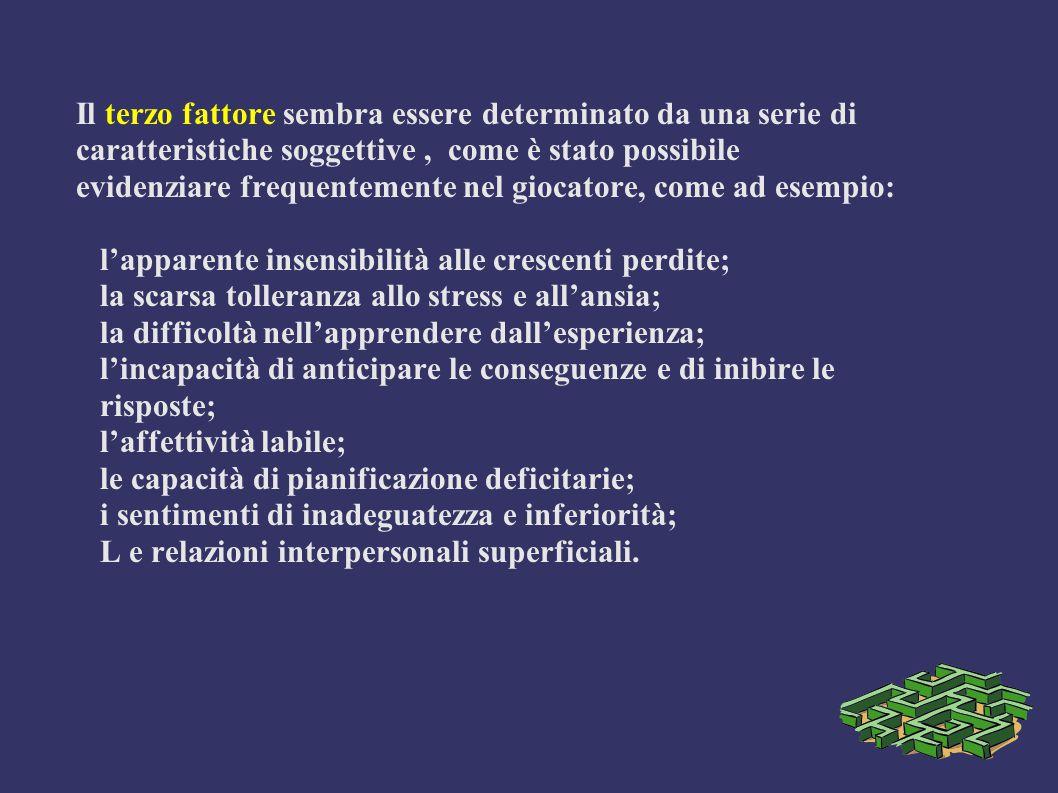 Il terzo fattore sembra essere determinato da una serie di caratteristiche soggettive, come è stato possibile evidenziare frequentemente nel giocatore