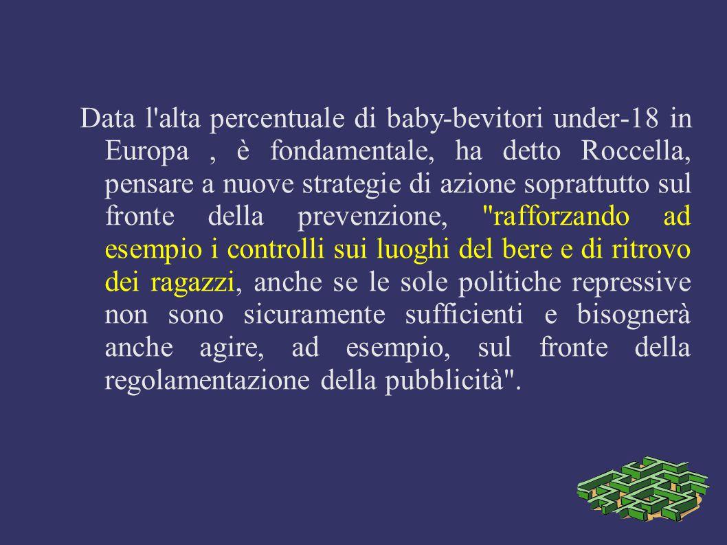Data l'alta percentuale di baby-bevitori under-18 in Europa, è fondamentale, ha detto Roccella, pensare a nuove strategie di azione soprattutto sul fr