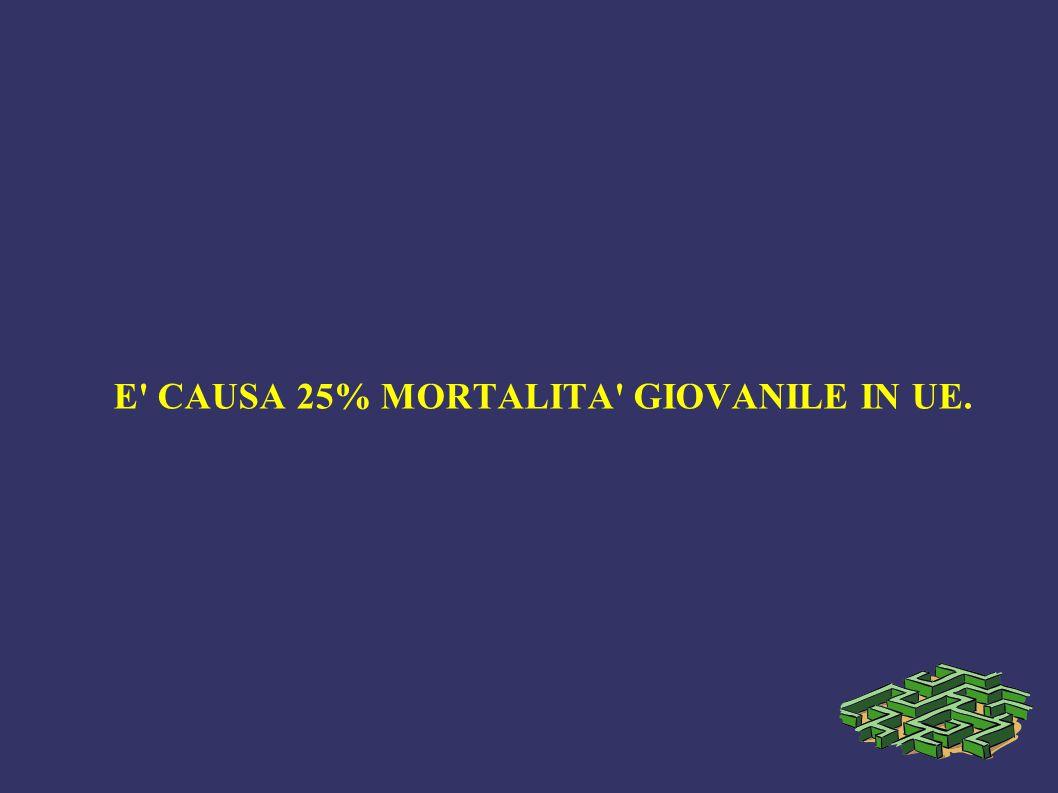 E' CAUSA 25% MORTALITA' GIOVANILE IN UE.