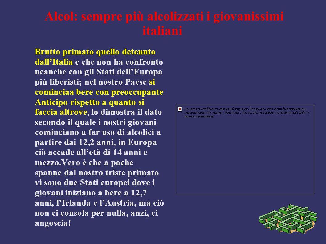 Alcol: sempre più alcolizzati i giovanissimi italiani Brutto primato quello detenuto dall'Italia e che non ha confronto neanche con gli Stati dell'Eur