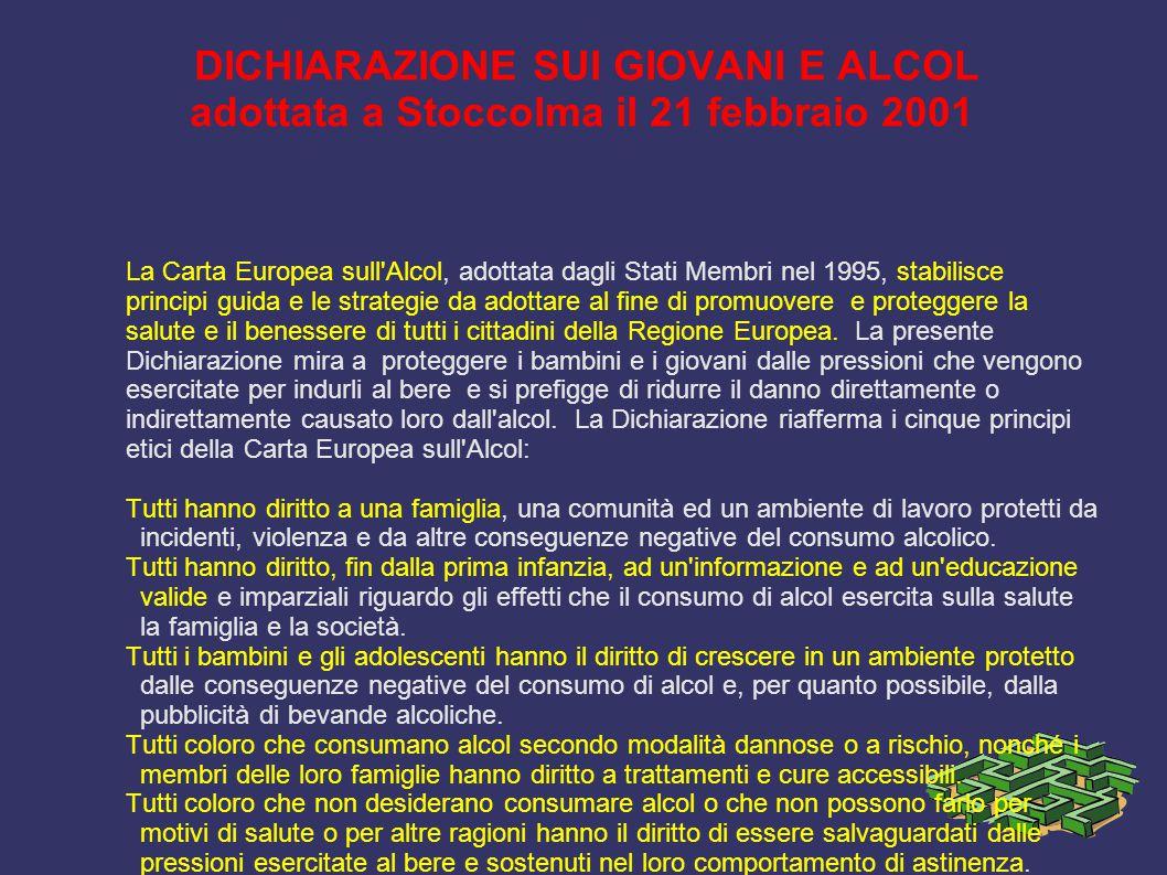 DICHIARAZIONE SUI GIOVANI E ALCOL adottata a Stoccolma il 21 febbraio 2001 La Carta Europea sull'Alcol, adottata dagli Stati Membri nel 1995, stabilis
