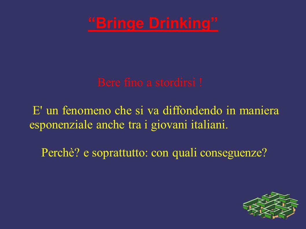 """""""Bringe Drinking"""" Bere fino a stordirsi ! E' un fenomeno che si va diffondendo in maniera esponenziale anche tra i giovani italiani. Perchè? e sopratt"""