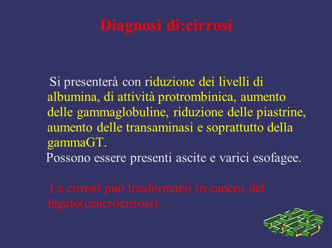 Diagnosi di:cirrosi Si presenterà con riduzione dei livelli di albumina, di attività protrombinica, aumento delle gammaglobuline, riduzione delle pias