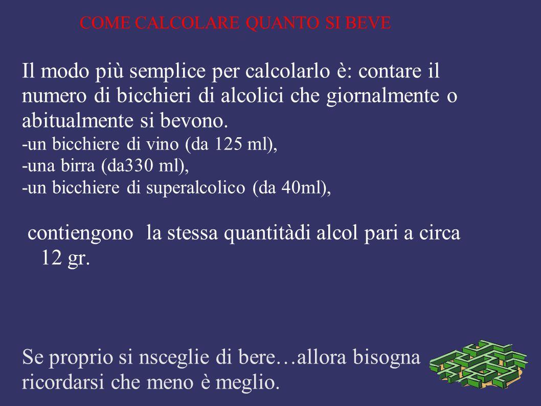 COME CALCOLARE QUANTO SI BEVE Il modo più semplice per calcolarlo è: contare il numero di bicchieri di alcolici che giornalmente o abitualmente si bev
