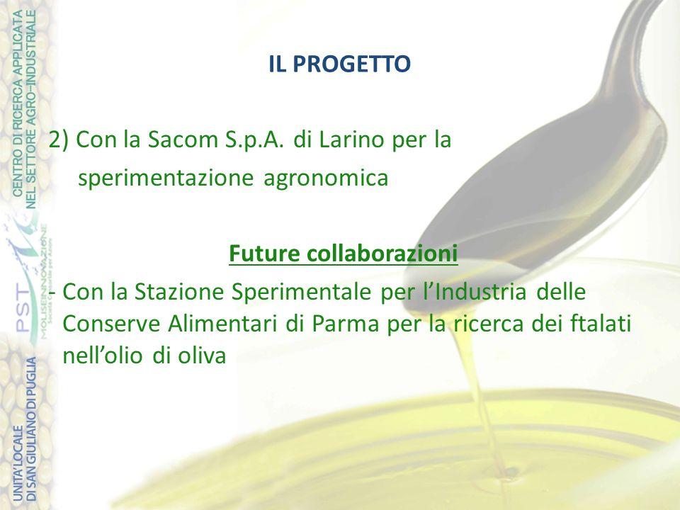 IL PROGETTO 2) Con la Sacom S.p.A. di Larino per la sperimentazione agronomica Future collaborazioni -Con la Stazione Sperimentale per l'Industria del