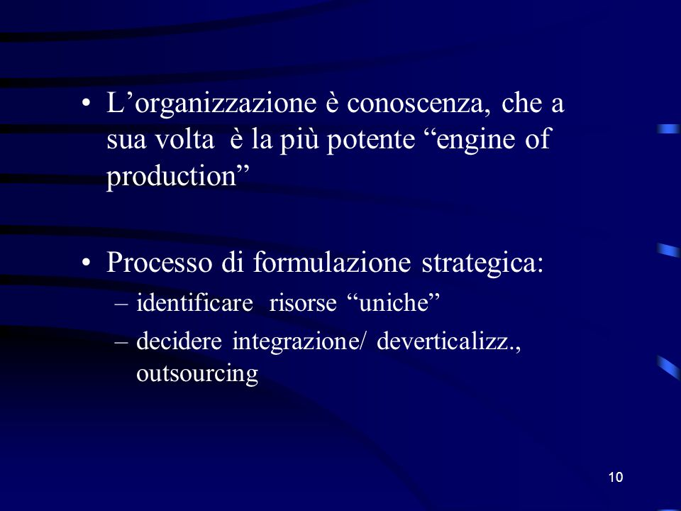 """9 R: comportamento derivato da regole (di varia natura), attività di ricerca orientata, goal-oriented activity R: """"deposito"""" della conoscenze Impresa"""