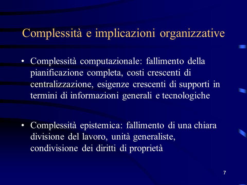 7 Complessità e implicazioni organizzative Complessità computazionale: fallimento della pianificazione completa, costi crescenti di centralizzazione, esigenze crescenti di supporti in termini di informazioni generali e tecnologiche Complessità epistemica: fallimento di una chiara divisione del lavoro, unità generaliste, condivisione dei diritti di proprietà