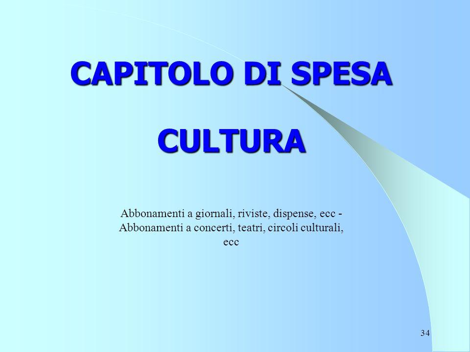 34 CAPITOLO DI SPESA CULTURA Abbonamenti a giornali, riviste, dispense, ecc - Abbonamenti a concerti, teatri, circoli culturali, ecc