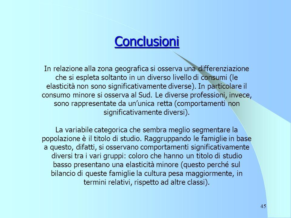 45 Conclusioni In relazione alla zona geografica si osserva una differenziazione che si espleta soltanto in un diverso livello di consumi (le elasticità non sono significativamente diverse).