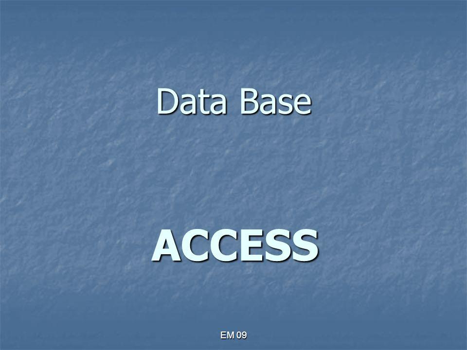 EM 09 Che cos'è un database Un database è una raccolta organizzata di informazioni