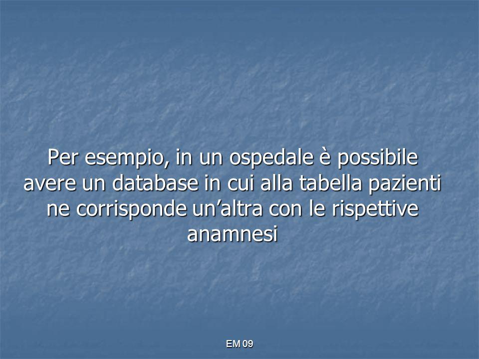EM 09 Per esempio, in un ospedale è possibile avere un database in cui alla tabella pazienti ne corrisponde un'altra con le rispettive anamnesi