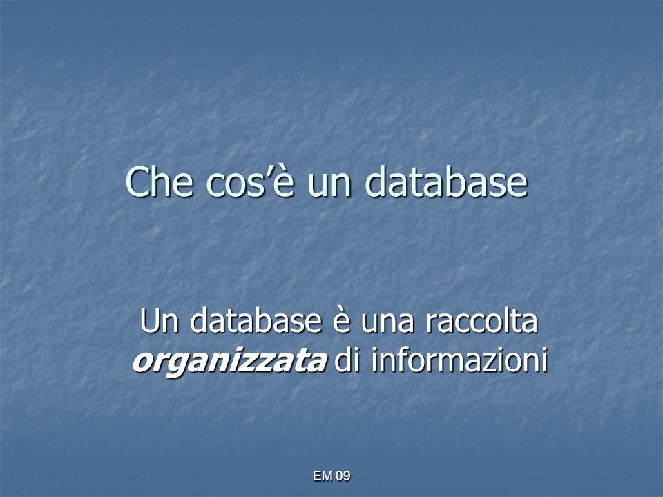 EM 09 Creazione mediante immissione di dati E' il caso più semplice, Access ci mostra una tabella vuota nella quale possiamo inserire i nostri dati