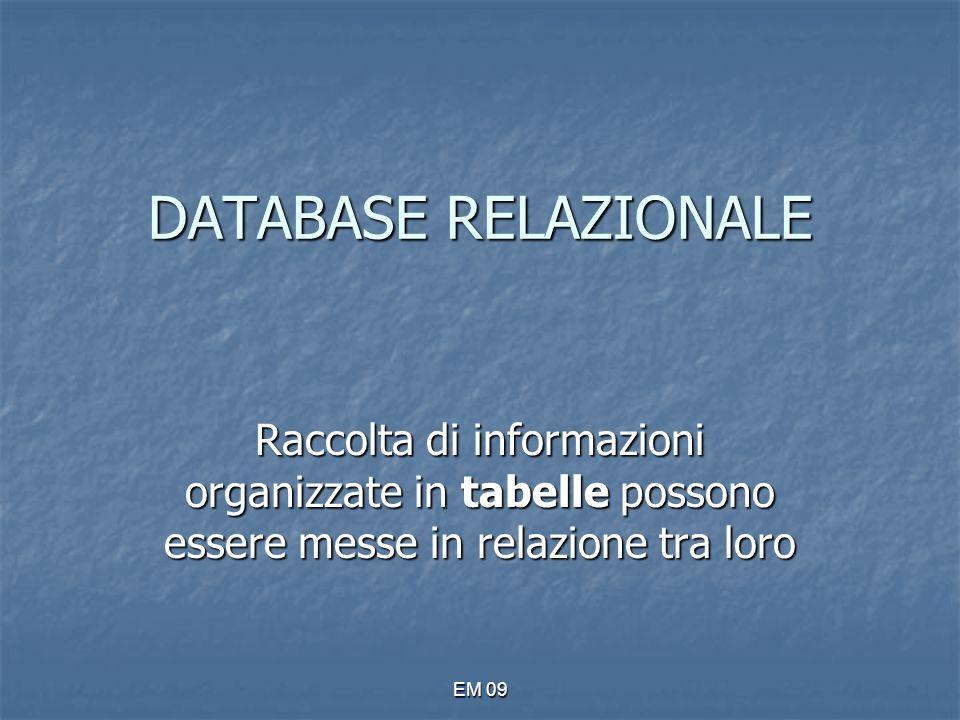 EM 09 Molti a molti Ogni record di una tabella può essere correlato a più record di un'altra