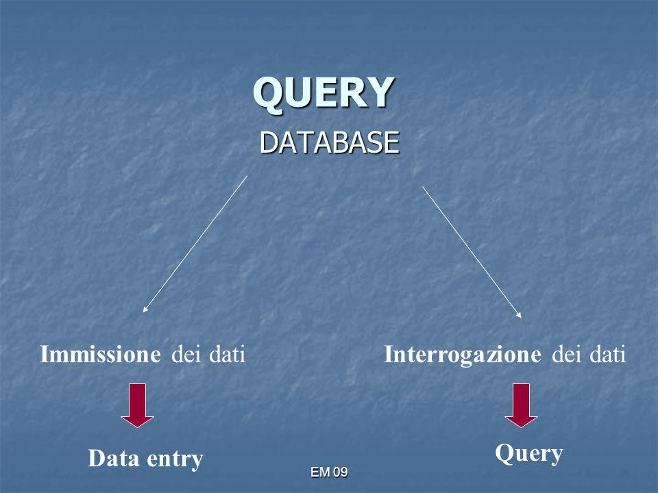 EM 09 QUERY DATABASE Immissione dei datiInterrogazione dei dati Data entry Query