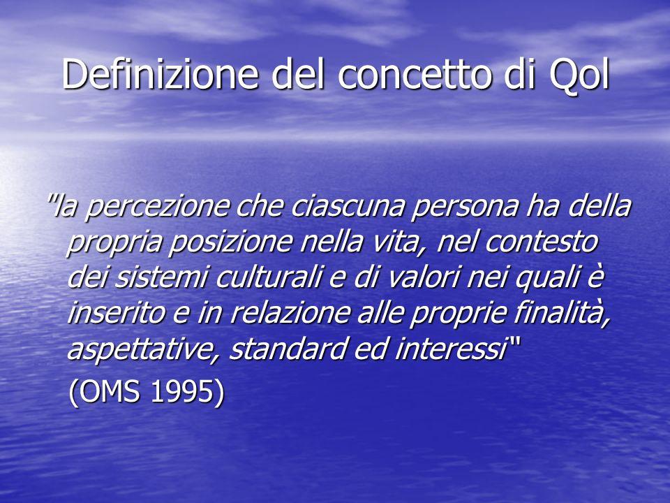 Definizione del concetto di Qol la percezione che ciascuna persona ha della propria posizione nella vita, nel contesto dei sistemi culturali e di valori nei quali è inserito e in relazione alle proprie finalità, aspettative, standard ed interessi (OMS 1995) (OMS 1995)