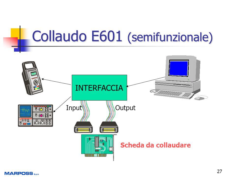 27 Collaudo E601 (semifunzionale) INTERFACCIA InputOutput Scheda da collaudare