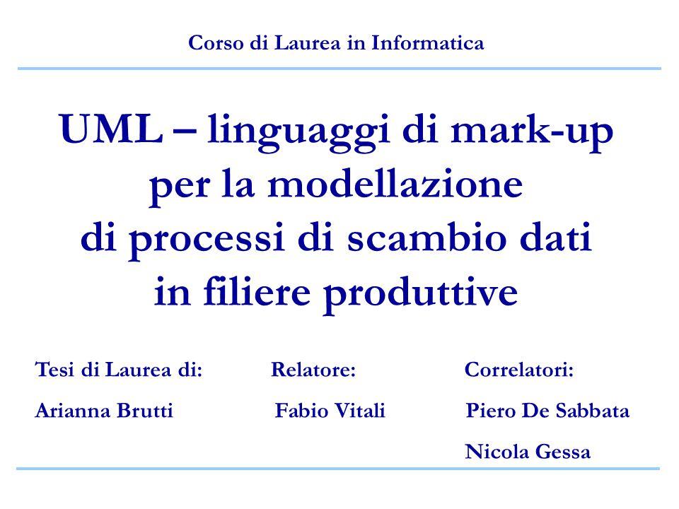 UML – linguaggi di mark-up per la modellazione di processi di scambio dati in filiere produttive Corso di Laurea in Informatica Tesi di Laurea di: Rel