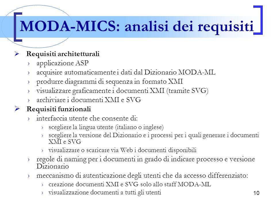 10  Requisiti architetturali ›applicazione ASP ›acquisire automaticamente i dati dal Dizionario MODA-ML ›produrre diagrammi di sequenza in formato XM