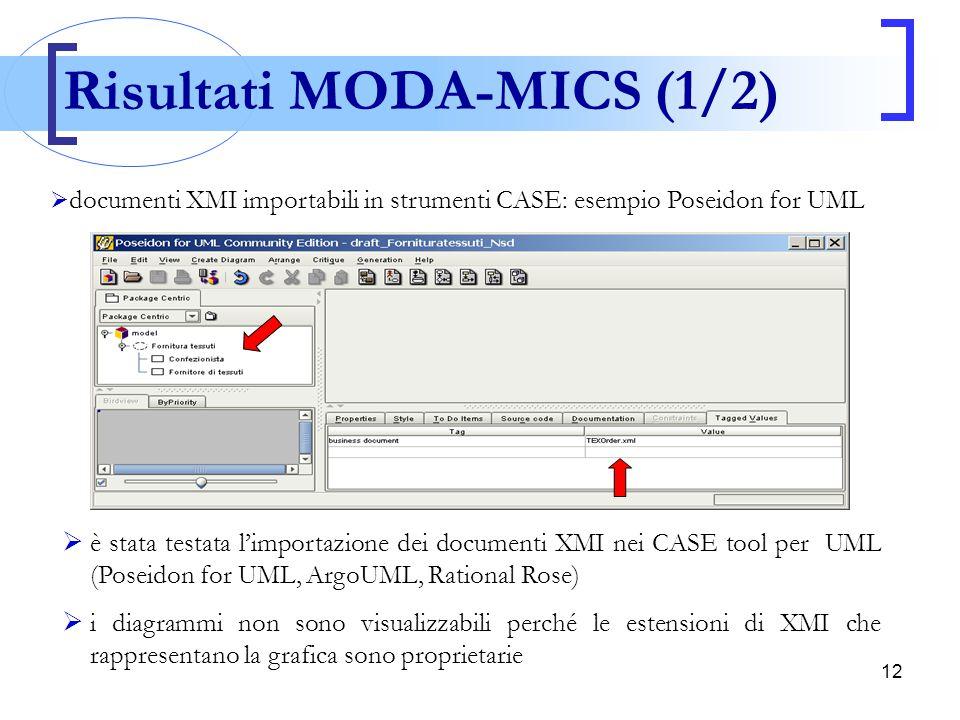 12  è stata testata l'importazione dei documenti XMI nei CASE tool per UML (Poseidon for UML, ArgoUML, Rational Rose)  i diagrammi non sono visualiz