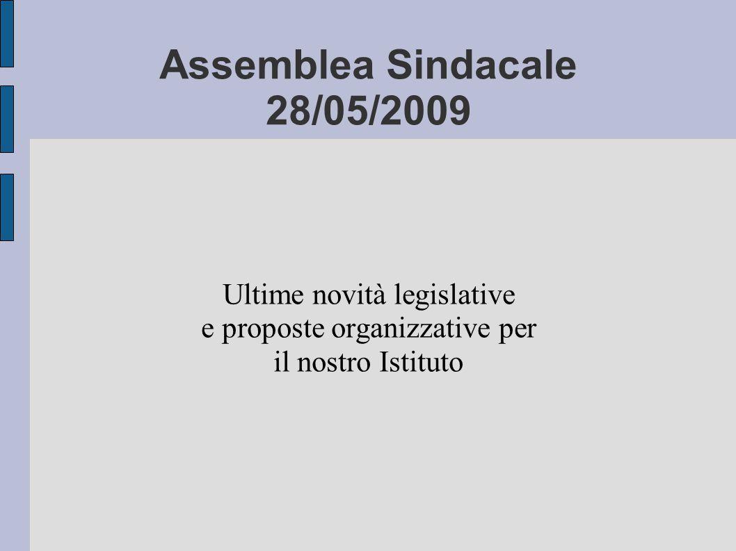 Assemblea Sindacale 28/05/2009 Ultime novità legislative e proposte organizzative per il nostro Istituto
