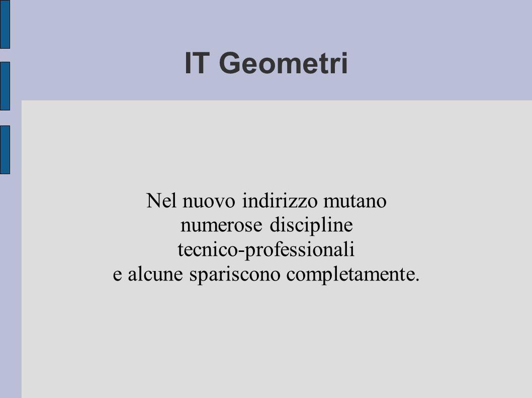 IT Geometri Nel nuovo indirizzo mutano numerose discipline tecnico-professionali e alcune spariscono completamente.