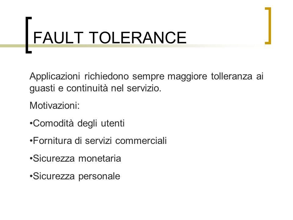 FAULT TOLERANCE Applicazioni richiedono sempre maggiore tolleranza ai guasti e continuità nel servizio.