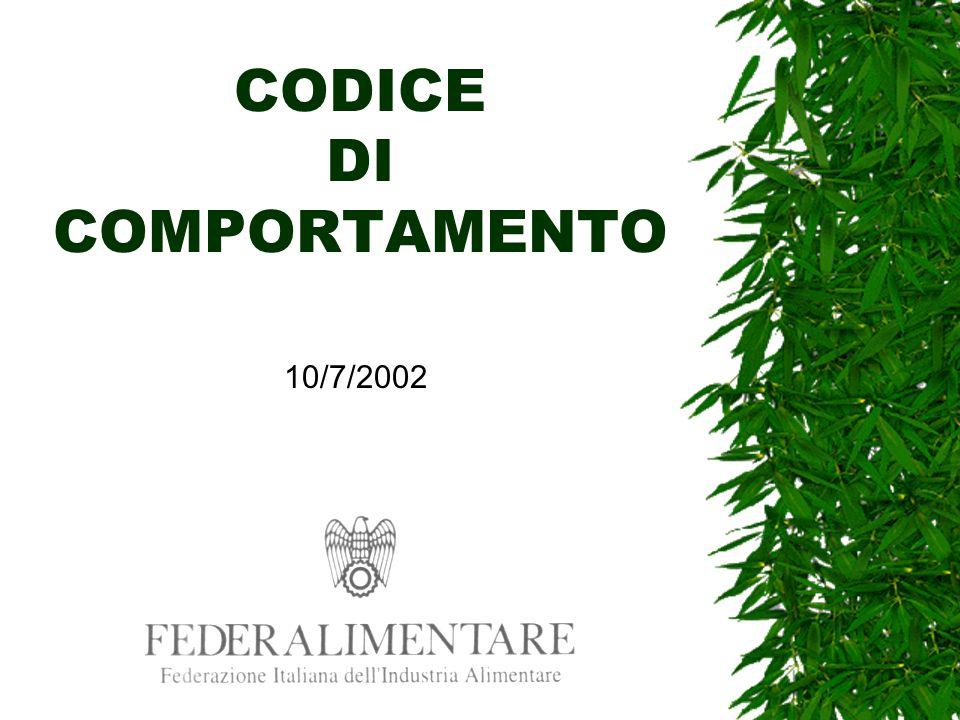 CODICE DI COMPORTAMENTO 10/7/2002