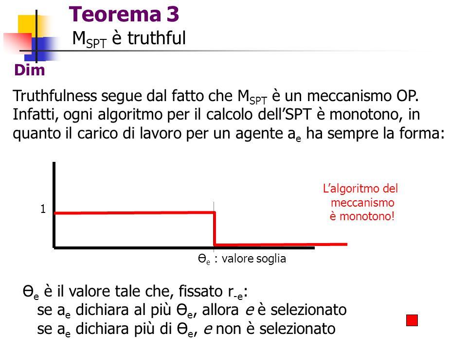 Teorema 3 M SPT è truthful Dim Truthfulness segue dal fatto che M SPT è un meccanismo OP. Infatti, ogni algoritmo per il calcolo dell'SPT è monotono,