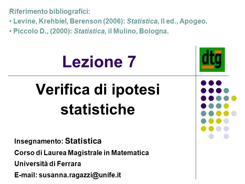 Lezione 7 Verifica di ipotesi statistiche Insegnamento: Statistica Corso di Laurea Magistrale in Matematica Università di Ferrara E-mail: susanna.raga