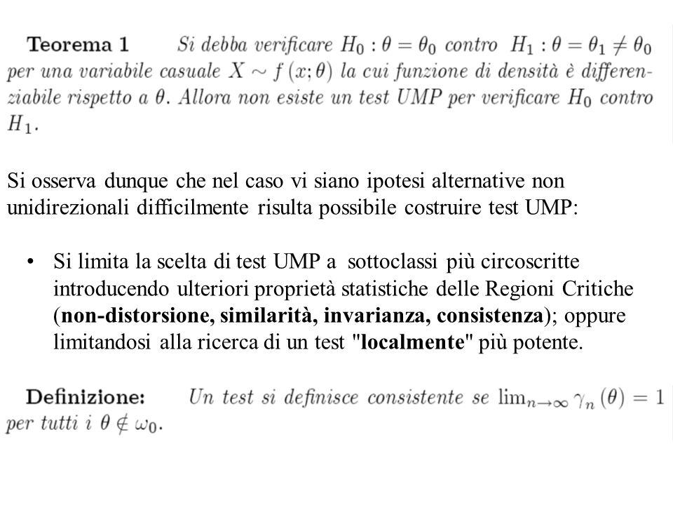 Si osserva dunque che nel caso vi siano ipotesi alternative non unidirezionali difficilmente risulta possibile costruire test UMP: Si limita la scelta