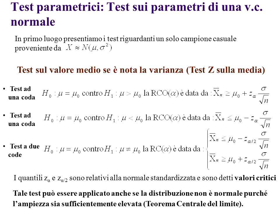 Test parametrici: Test sui parametri di una v.c. normale Test sul valore medio se è nota la varianza (Test Z sulla media) In primo luogo presentiamo i