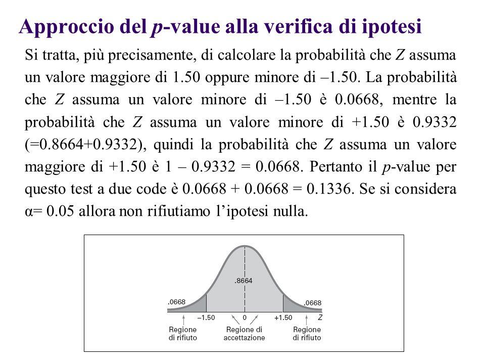 Approccio del p-value alla verifica di ipotesi Si tratta, più precisamente, di calcolare la probabilità che Z assuma un valore maggiore di 1.50 oppure