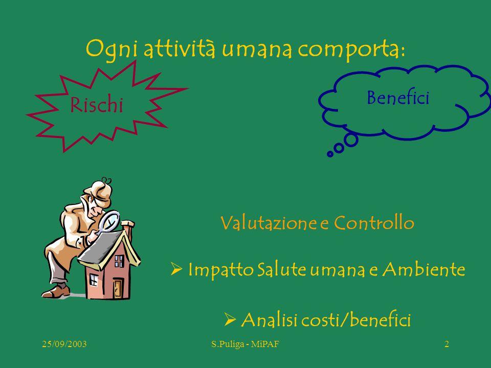 25/09/2003S.Puliga - MiPAF23 Consultazione pubblica  Sintesi informazioni (snif)  Valutazione impatto (ERA)  Nuove informazioni Cosa?