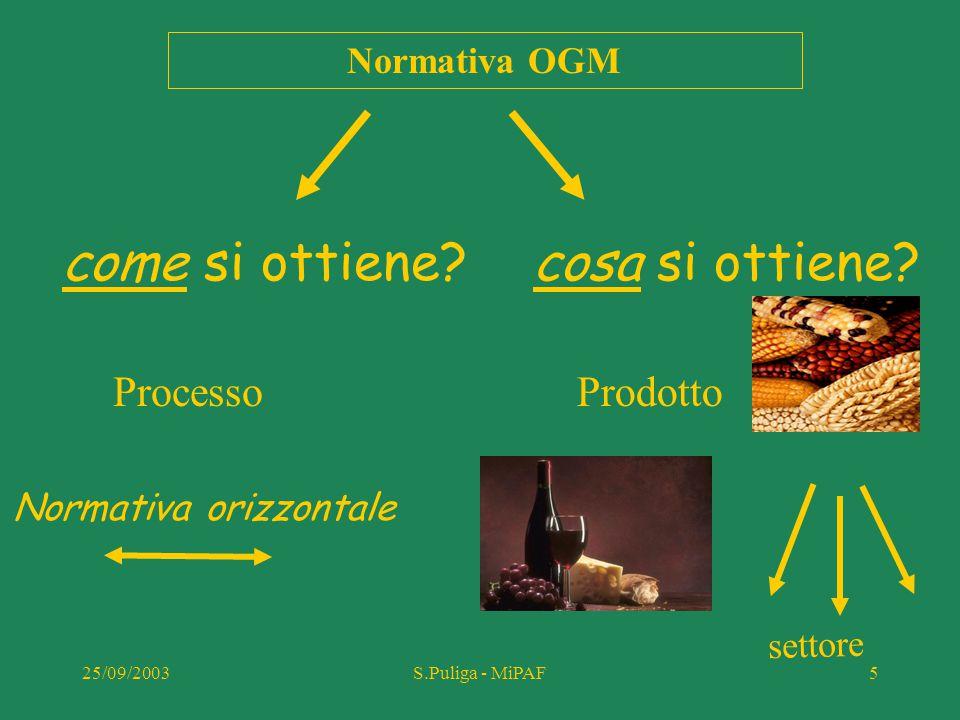 25/09/2003S.Puliga - MiPAF56 Situazione attuale in Italia prodotti OGM Semente Alimenti nessuna varietà di PGM è iscritta al registro varietale nazionale, pertanto in Italia NON può essere commercializzato seme di piante geneticamente modificate mais (evento176-Novartis) possono essere importati in Italia e usati solo per la trasformazione industriale soia RR (Monsanto)
