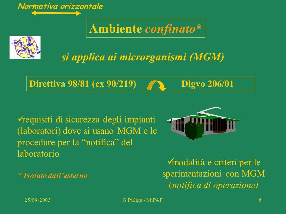 25/09/2003S.Puliga - MiPAF7 Si applica a qualunque organismo vivente in grado di riprodursi (OGM) escluso l'uomo Ambiente aperto* * a contatto con l'ambiente esterno Direttiva 90/220 dlgvo 92/93 Sostituita da 2001/18 dlgvo 224/2003 Decisioni (CEE) riguardanti la commercializzazione di ciascun prodotto Normativa orizzontale