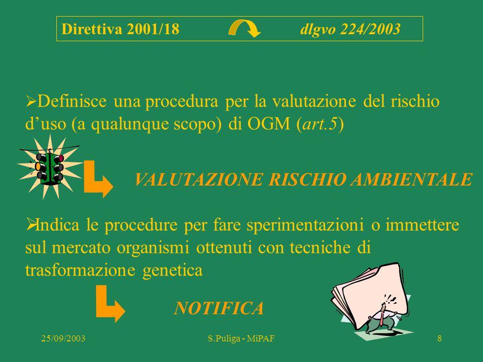 25/09/2003S.Puliga - MiPAF19 Principi -Confronto OGM /stesso organismo non GM -Base scientifica e tecnica valida -Caso per caso -Nuove informazioni, nuova valutazione -Nuova gestione del rischio Valutazione del rischio ambientale Environmental risk assessment (ERA)