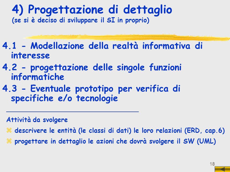 18 4) Progettazione di dettaglio (se si è deciso di sviluppare il SI in proprio) 4.1 - Modellazione della realtà informativa di interesse 4.2 - proget