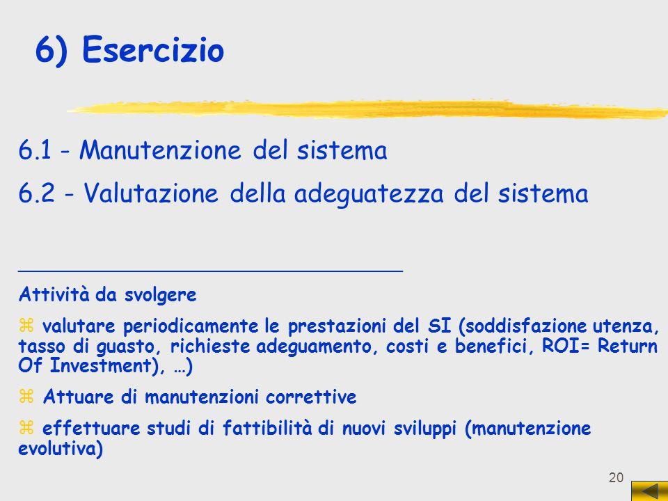 20 6) Esercizio 6.1 - Manutenzione del sistema 6.2 - Valutazione della adeguatezza del sistema _________________________________ Attività da svolgere