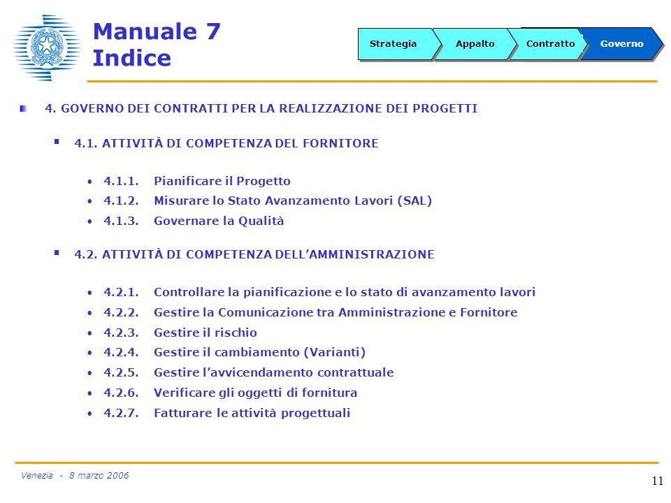 Venezia - 8 marzo 2006 11 Manuale 7 Indice 4.