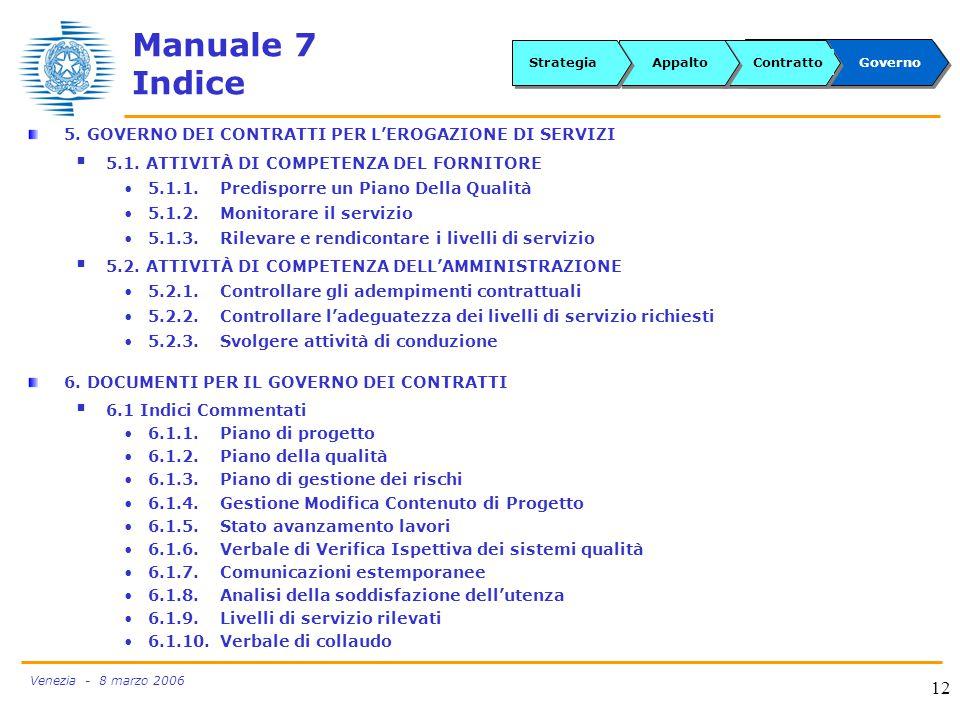 Venezia - 8 marzo 2006 12 Manuale 7 Indice 5.