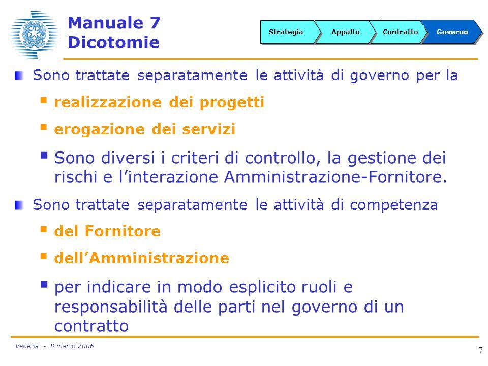 Venezia - 8 marzo 2006 7 Sono trattate separatamente le attività di governo per la  realizzazione dei progetti  erogazione dei servizi  Sono diversi i criteri di controllo, la gestione dei rischi e l'interazione Amministrazione-Fornitore.