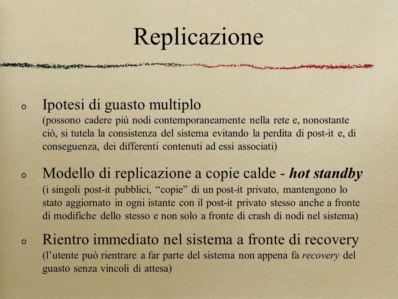 Replicazione Ipotesi di guasto multiplo (possono cadere più nodi contemporaneamente nella rete e, nonostante ciò, si tutela la consistenza del sistema evitando la perdita di post-it e, di conseguenza, dei differenti contenuti ad essi associati) Modello di replicazione a copie calde - hot standby (i singoli post-it pubblici, copie di un post-it privato, mantengono lo stato aggiornato in ogni istante con il post-it privato stesso anche a fronte di modifiche dello stesso e non solo a fronte di crash di nodi nel sistema) Rientro immediato nel sistema a fronte di recovery (l'utente può rientrare a far parte del sistema non appena fa recovery del guasto senza vincoli di attesa)